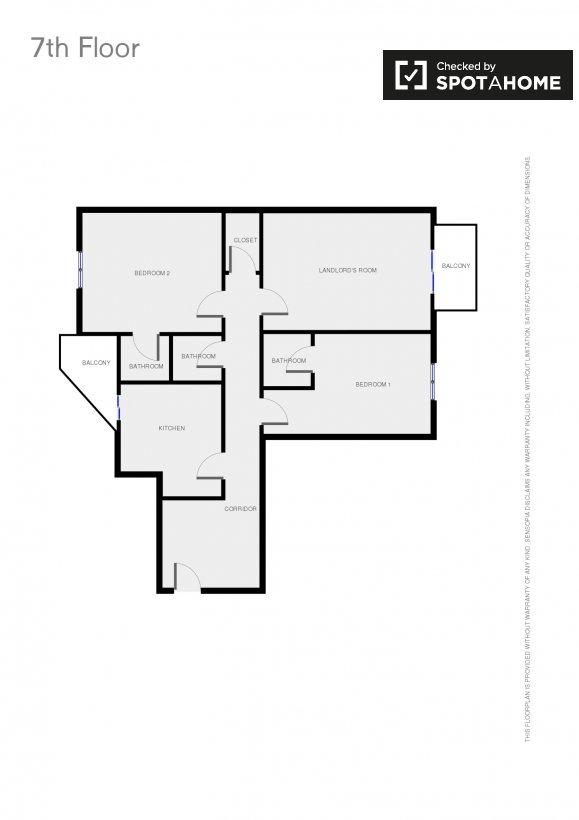 Stanza doppia in un appartamento in vaticano roma ref for Planimetria stanza