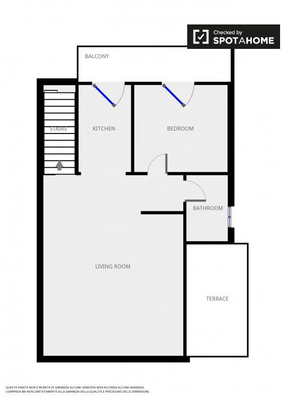 moderno appartamento con 1 camera da letto in affitto a