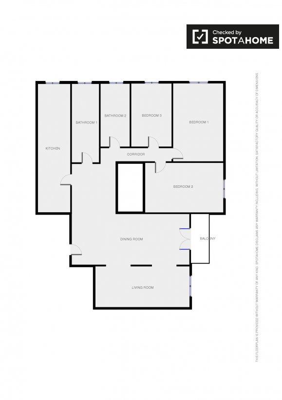 Stanza luminosa in un quadrilocale roma ref 90647 for Planimetrie della sala da pranzo della cucina aperta