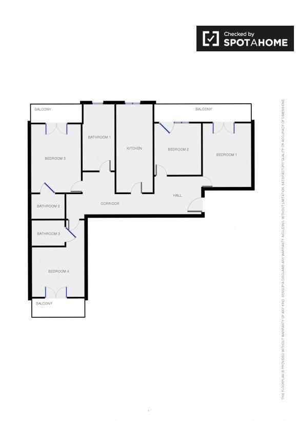 Camera doppia in appartamento con 4 camere da letto a - Descrizione camera da letto in inglese ...