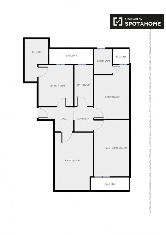 Spazioso appartamento con 2 camere da letto in affitto in for Planimetrie della sala da pranzo della cucina aperta