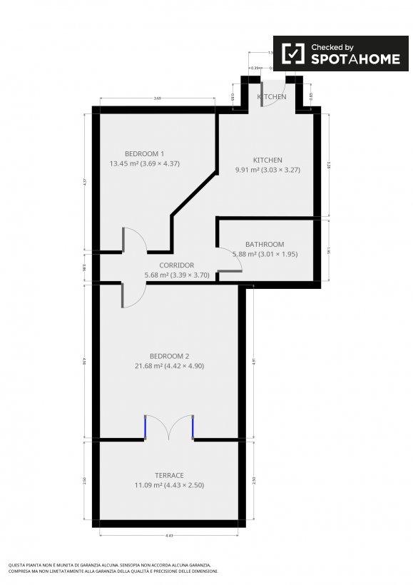 Camere e posti letto in appartamento con 2 camere da letto for Planimetrie della camera da letto della suite matrimoniale