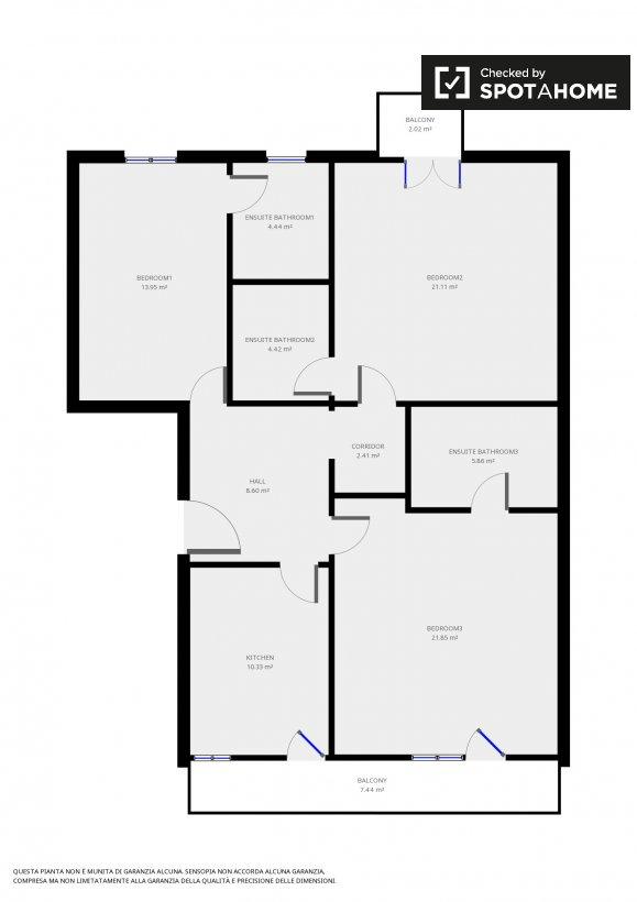 Camera compatta in appartamento con 3 camere da letto a Tuscolano, a ...