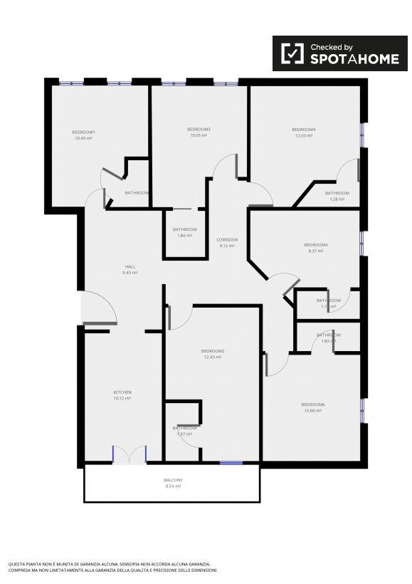 Spaziosa camera in appartamento con 6 camere da letto a Monte Sacro ...