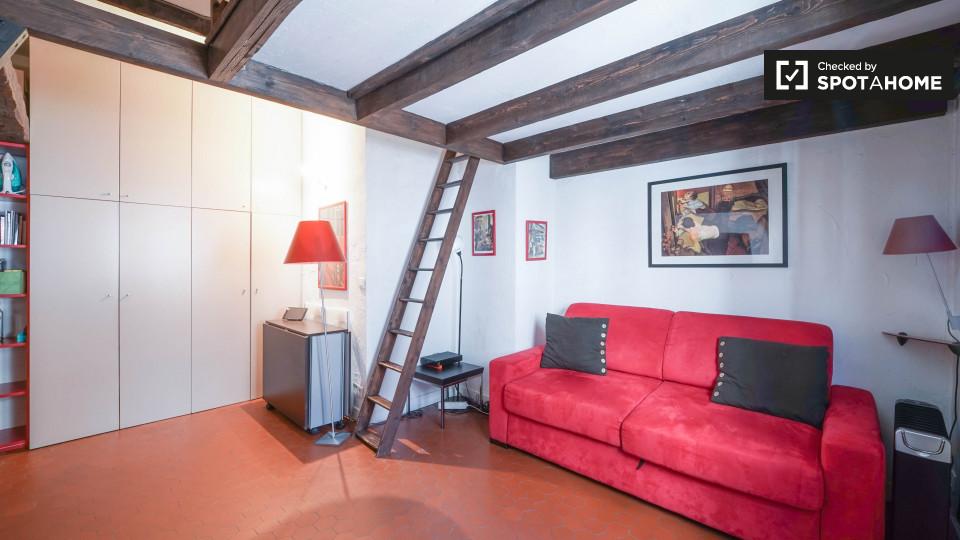 Monolocale con mezzanino in affitto a Parigi, il più antico edificio della Medio Era vicino a Hotel de Ville, arr. 4