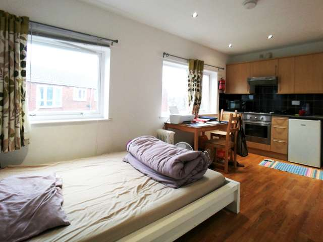 Sunny studio flat to rent in Stratford, London