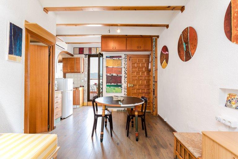 Piękne 1-pokojowe mieszkanie z tarasem do wynajęcia w Gràcia