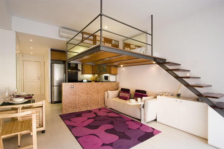 Studio Apartment With Mezzanine studio apartment with balcony for rent, el raval, barcelona