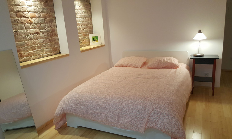 Bedroom 1 with double bed and heating