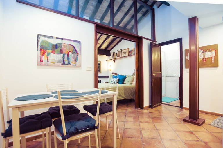 Rustic 1-bedroom apartment for rent in Trastevere, Rome