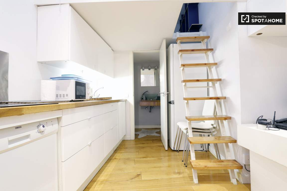 kitchen and stairs to loft
