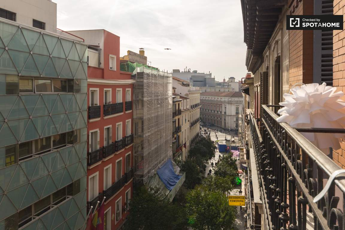 Balcony view of Puerta del Sol
