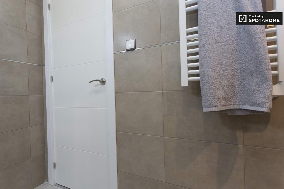 bathroom towel warmer and door