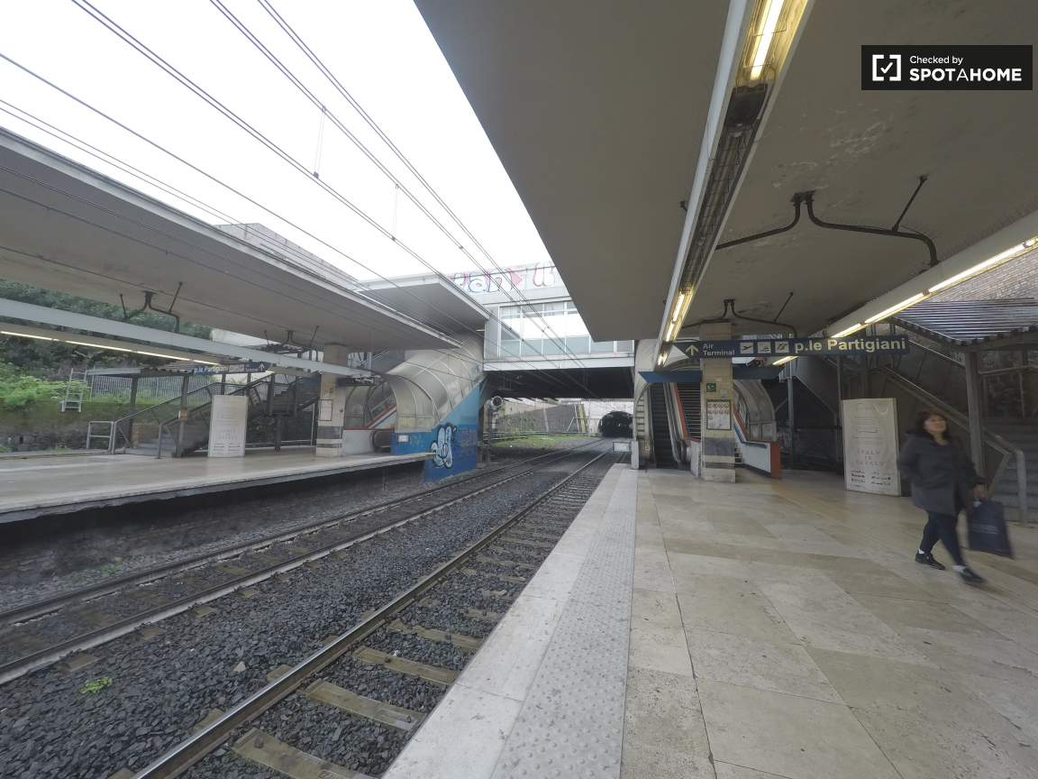 Piramide metro station at 10 minutes walking distance