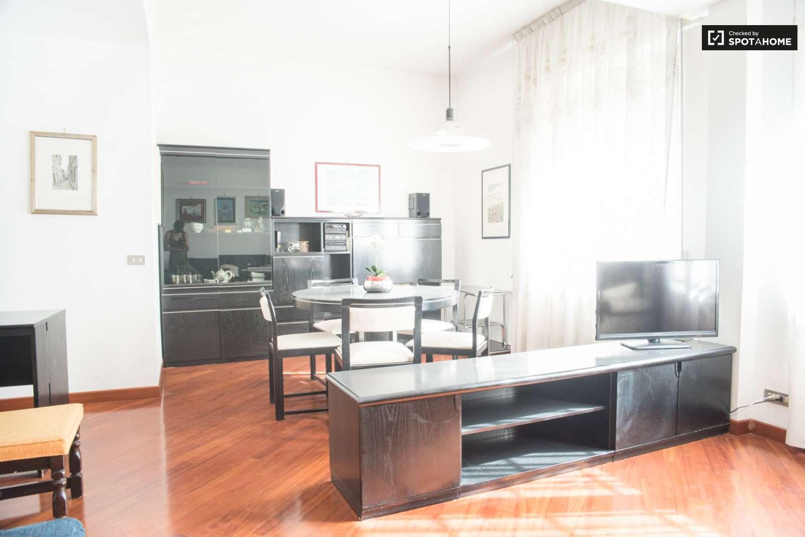 stanza doppia in un trilocale, monteverde, roma   spotahome - Sala Da Pranzo E Soggiorno Insieme