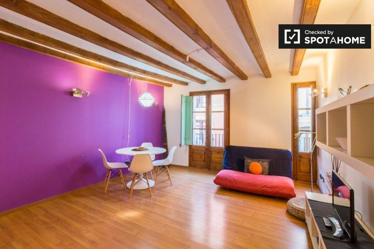 Bunte Studio-Wohnung zur Miete in Barri Gòtic