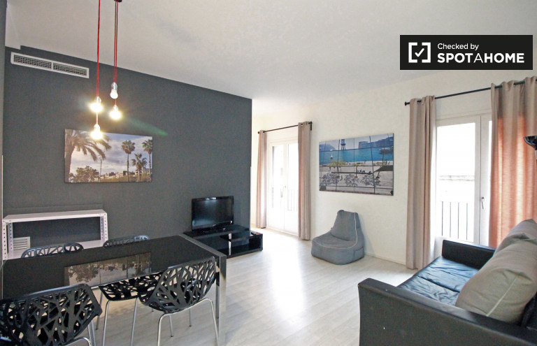Spacious studio apartment with 2 balconies for rent in Barri Gòtic