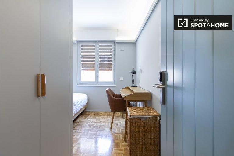 Modern room in residence hall in Tetuán, Madrid