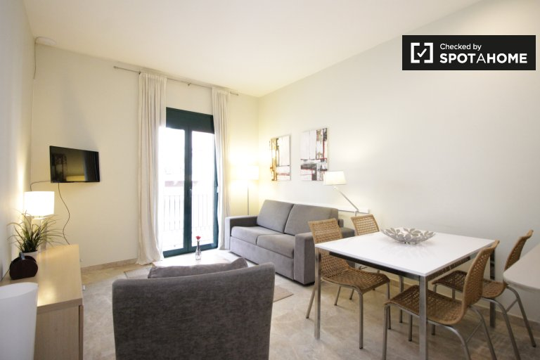 Chic and sleek 2-bedroom apartment with balcony to rent in the Gothic Quarter