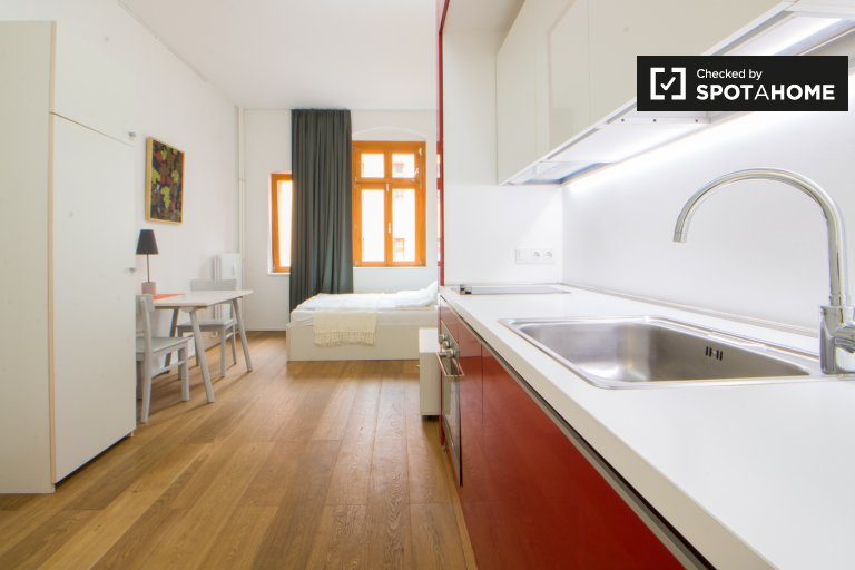 Trendy studio apartment with terrace and courtyard for rent in Friedrichshain
