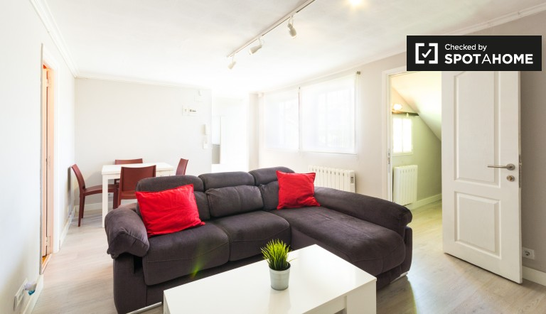 Spacious 1-bedroom apartment with a roof terrace for rent in Malasaña
