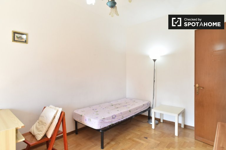 Single Bed in Spacious rooms for rent in 3-bedroom apartment with multiple balconies in EUR Spinaceto