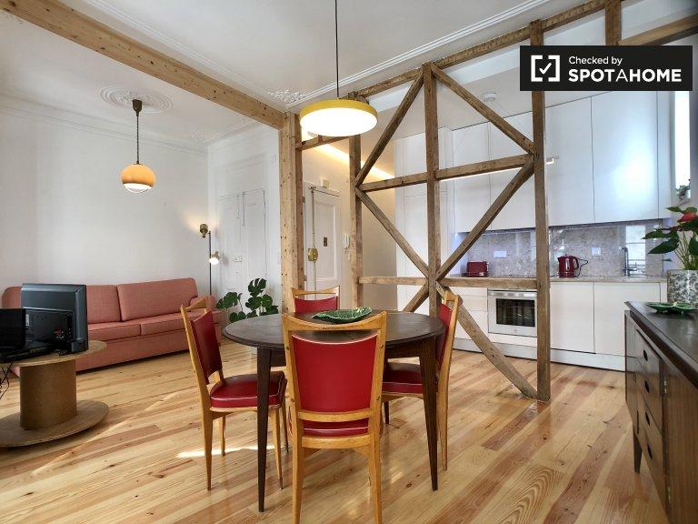 Lizbon Bairro Alto, kiralık 1 yatak odalı şık daire