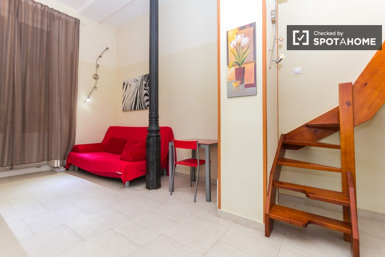 Stylish Lofted Studio with AC for Rent in Madrid City Centre