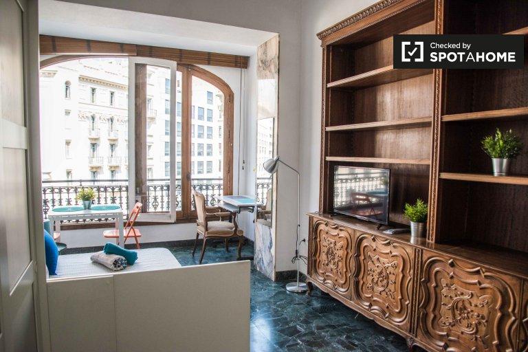 Bright studio apartment for rent in Ciutat Vella, Valencia