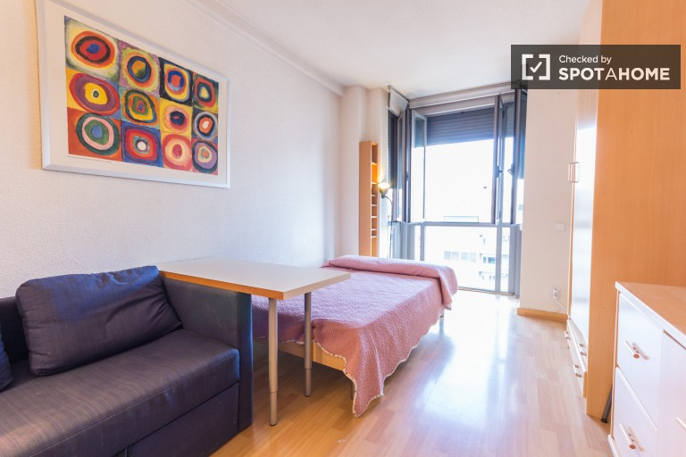 Fully furnished studio apartment with beautiful views for rent in Chamartin