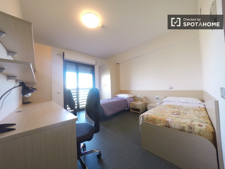 Twin Beds in Self-contained apartments for rent to students in residence hall near Tor Vergata
