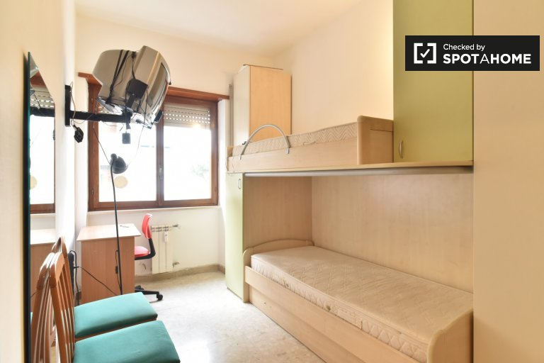 Twin Beds in Charming twin rooms for rent in 2-bedroom apartment in Tiburtina