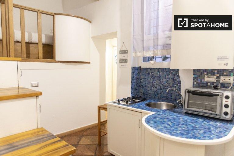 Apartamento de 1 quarto elegante para alugar em Trastevere, Roma