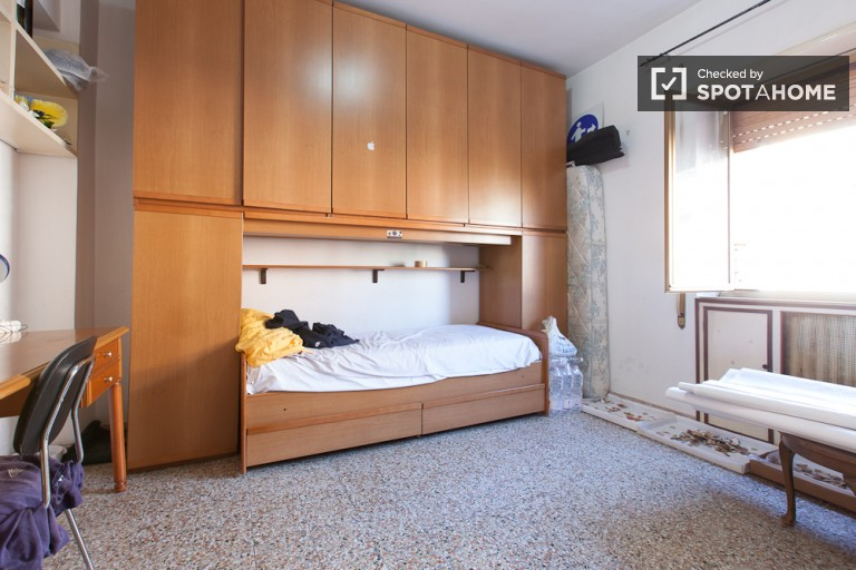 Bedroom 1, couple-friendly with double bed and balcony