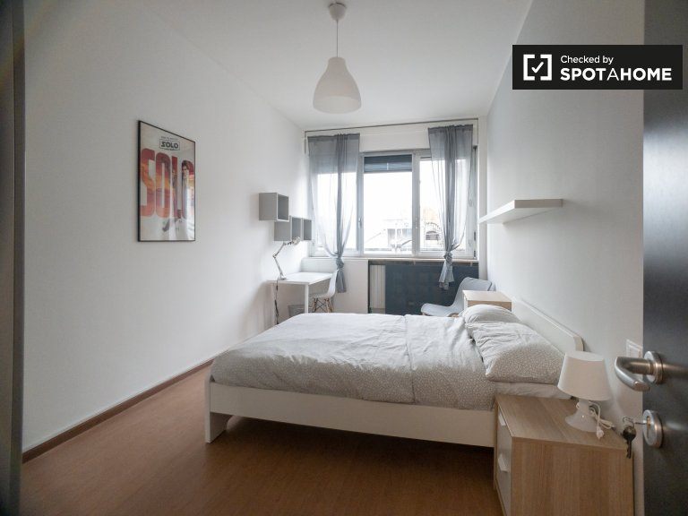 Bright room for rent in 12-bedroom apartment in Bicocca