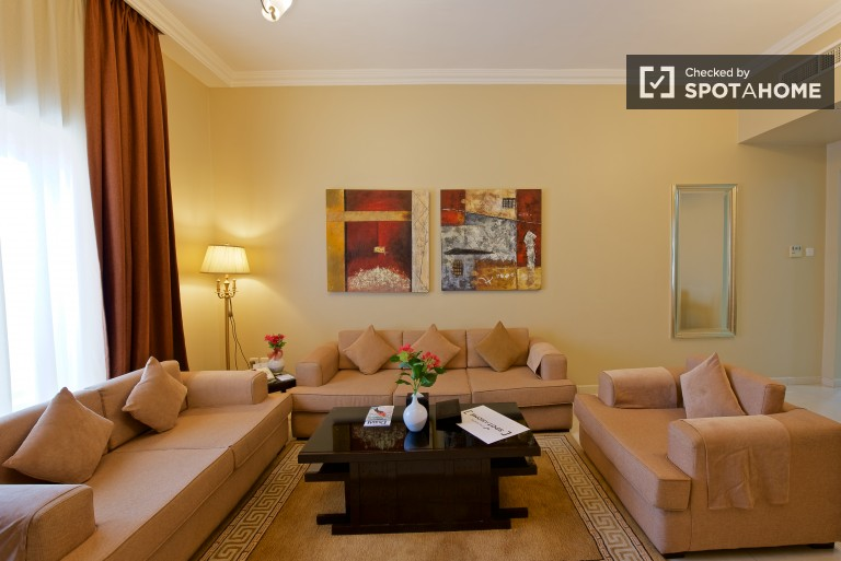 Deluxe 2-bedroom apartment with pool access, balcony and AC for rent in Al Nahda area