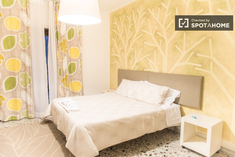 Double Bed in Rooms with television and private bathroom for rent close to Roma Tuscolana