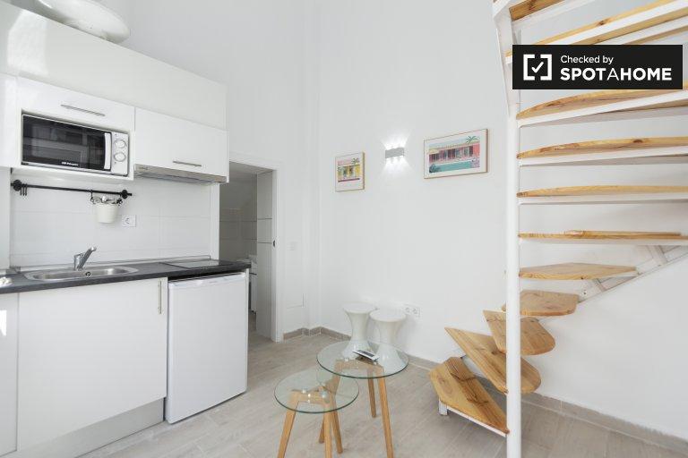 Minimalistyczne mieszkanie z 1 sypialnią do wynajęcia w Userze w Madrycie