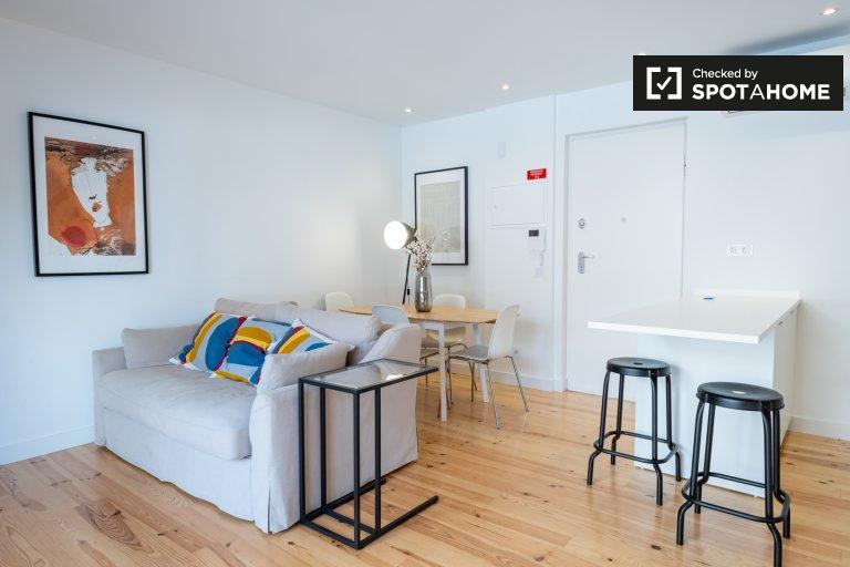Luminoso appartamento con 1 camera da letto in affitto a Belém, Lisbona