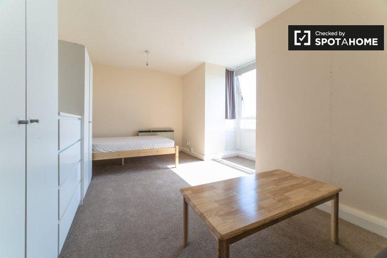 Przestronny pokój w trzypokojowym mieszkaniu w Hammersmith w Londynie