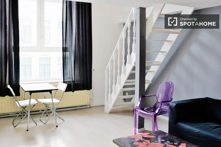 Renovated 1-bedroom duplex apartment for rent near European Parliament