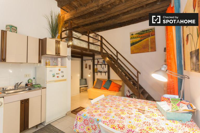 Studio Apartment With Mezzanine modern studio apartment with for rent in solari, milan | spotahome