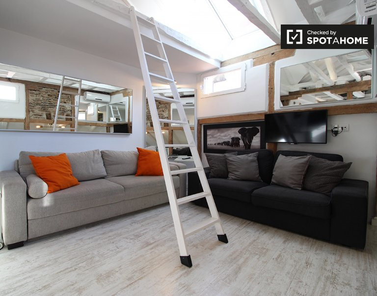 Modern studio apartment for rent in Centro, Madrid