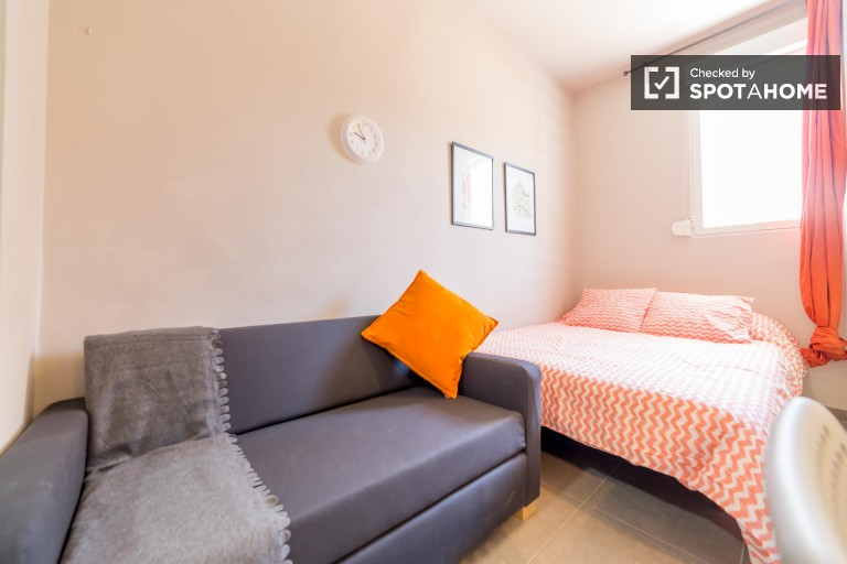 Bedroom 5, couple-friendly with double bed, AC, and en-suite bath