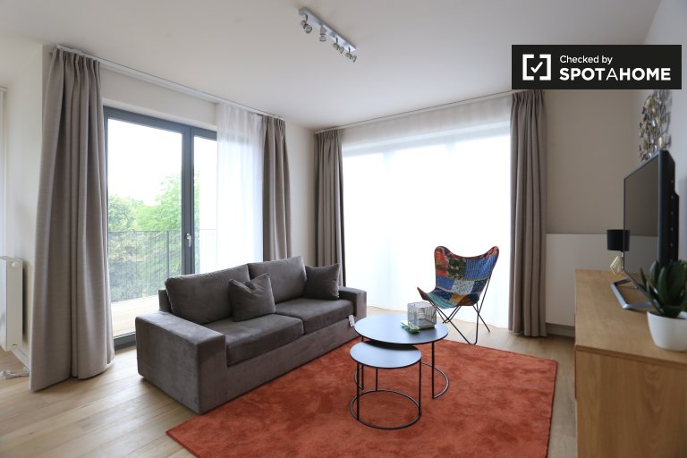 Słoneczny 1-pokojowy apartament do wynajęcia w Ixelles, Bruksela