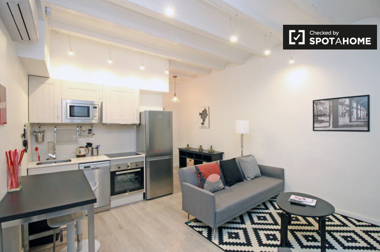 1-bedroom apartment with balcony and AC for rent in El Raval