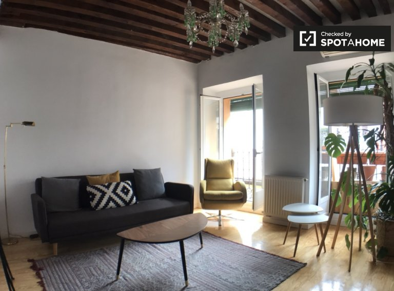 Regal 1-bedroom apartment for rent in Lavapiés, Madrid
