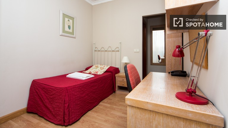 Single room with ensuite bathroom, half board