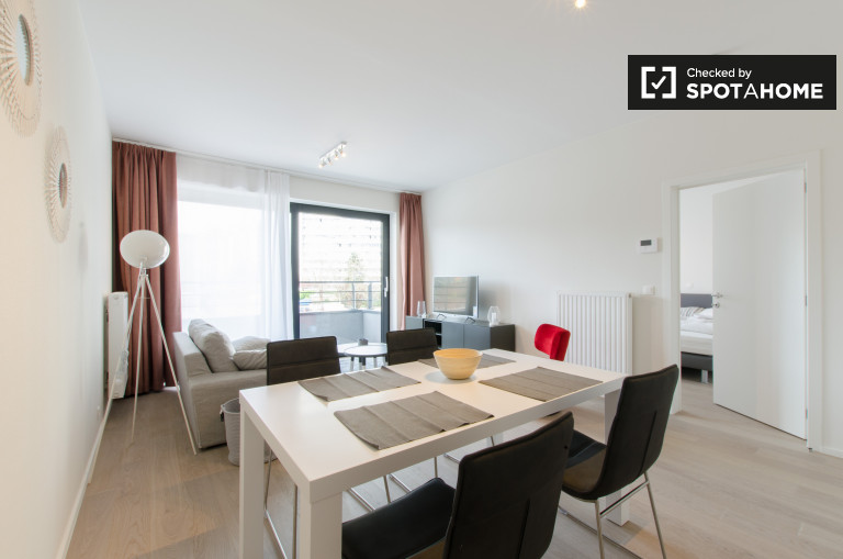 1-bedroom apartment with balcony for rent in Evere, Brussels