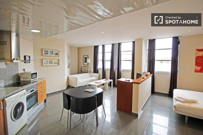 Modern studio apartment with AC for rent in El Raval area